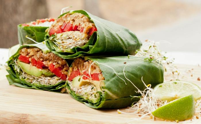 veganes essen frisches gemüse keime sojabohnen