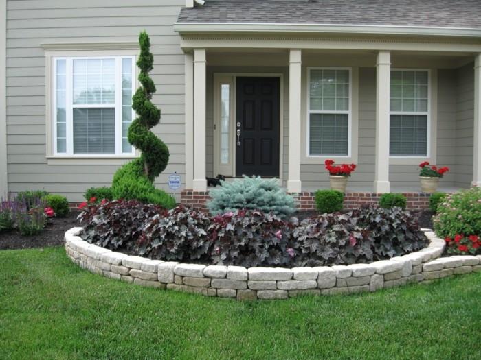 vorgarten gestaltung pflanzenbeete mit steinen dekorieren