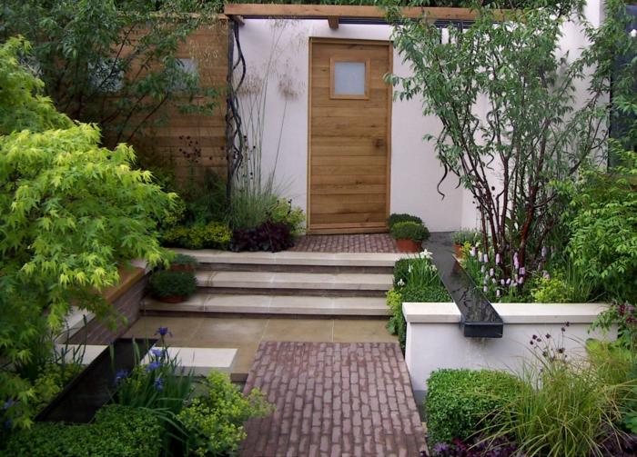 vorgartengestaltung ideen stilvoll sitzgelegenheiten pflanzen
