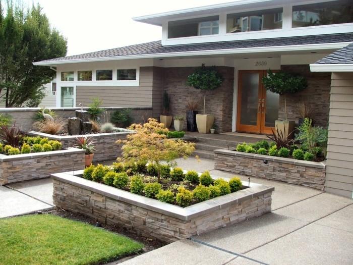 vorgartengestaltung moerner vorgarten mit steinen