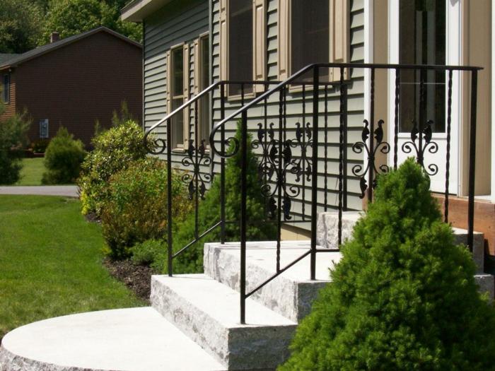 vorgartengestaltung treppen eingang immergrüne pflanzen