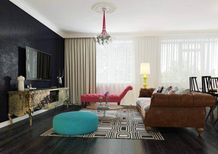 wände gestalten dunkle wandgestaltung schwarze akzentwand wohnzimmer teppichmuster farbige möbel