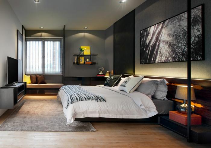 wände gestalten schlafzimmer dunkle schattierungen grau schwarz