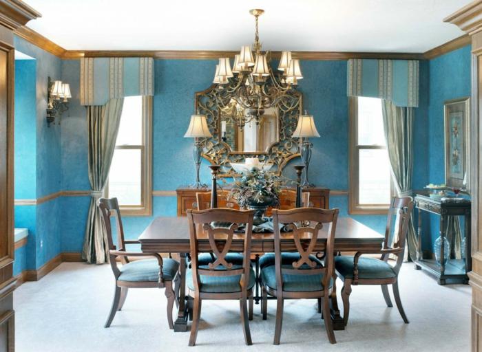 wandgestaltung ideen blaue esszimmerwände lange gardinen schöne tischdeko