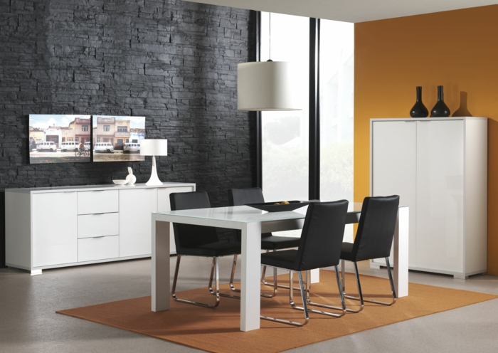 Orange Accent Wall In Dining Room