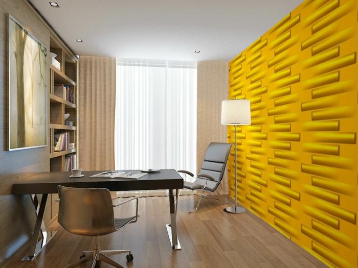 wandgestaltung ideen gelbe wandpaneele wohnideen