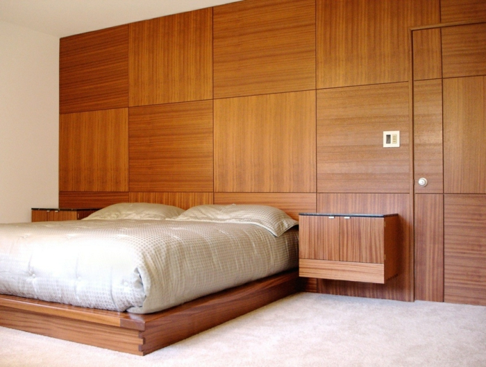 wandgestaltung ideen schlafzimmer hölzerne paneele
