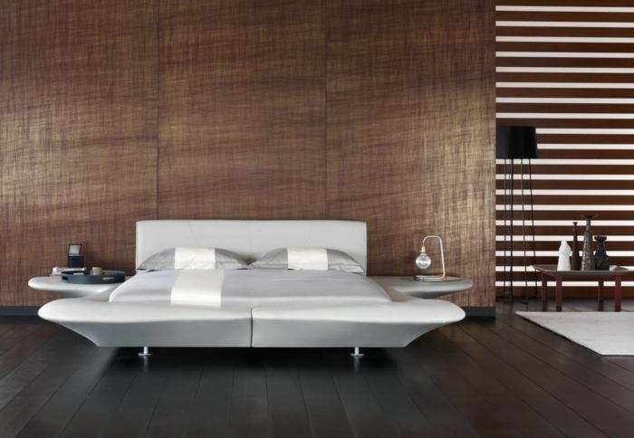 wandgestaltung ideen schlafzimmer wände paneele weißes bett