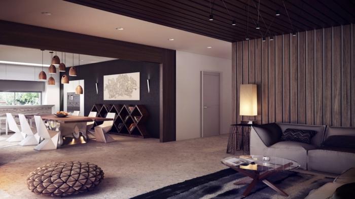 wandgestaltung ideen wohnzimmer hölzerne wandpanneele offener wohnplan
