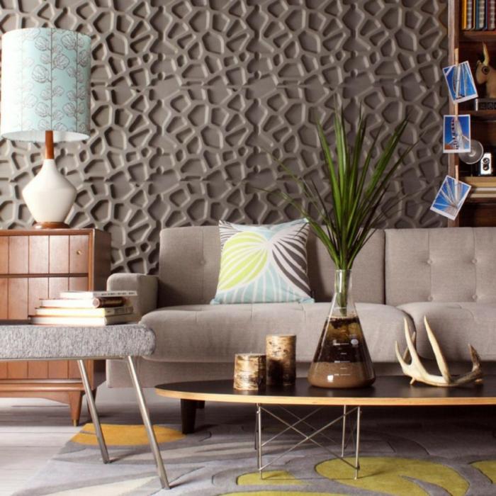 wandgestaltung ideen wohnzimmer paneele eleganter teppich