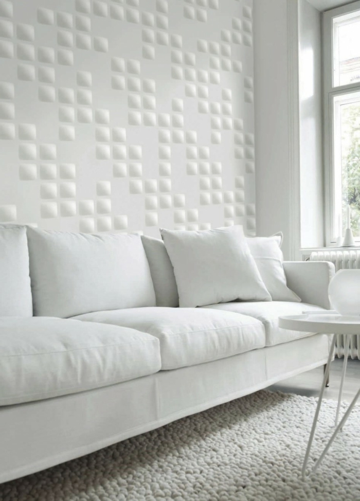 wandgestaltung ideen wohnzimmer weiß stilvoll wohnzimmerteppich