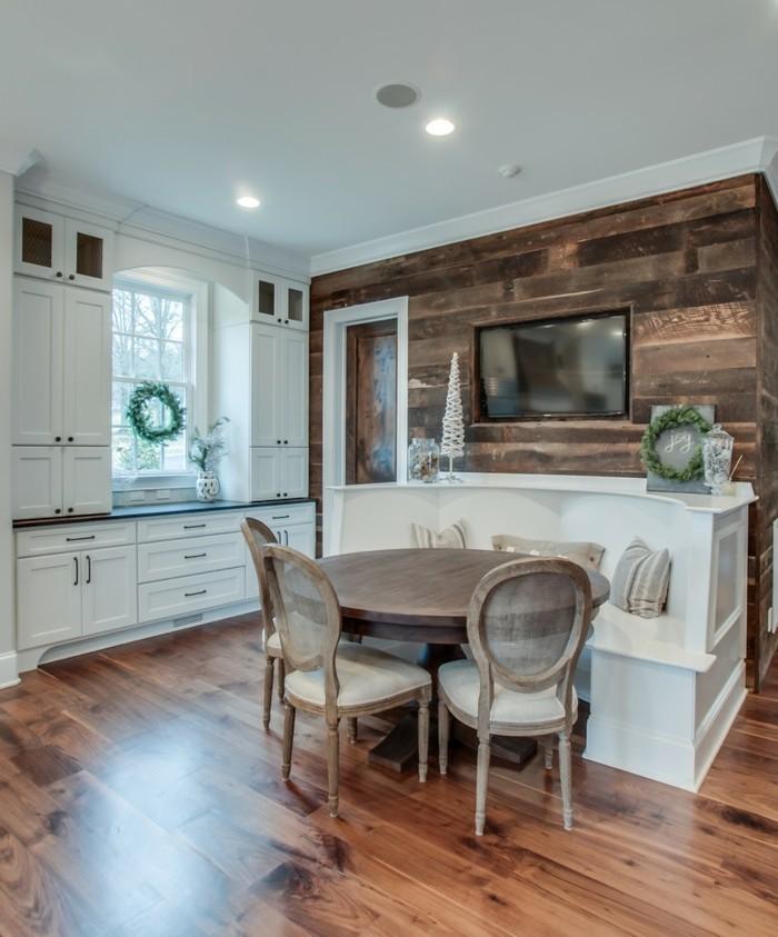 Wandgestaltung Küche Akzentwand Aus Holz Und Holzboden 66 Wandgestaltung  Küche Ideen U2013 Wie Erreicht Man Den Erwünschten Küchen Look?