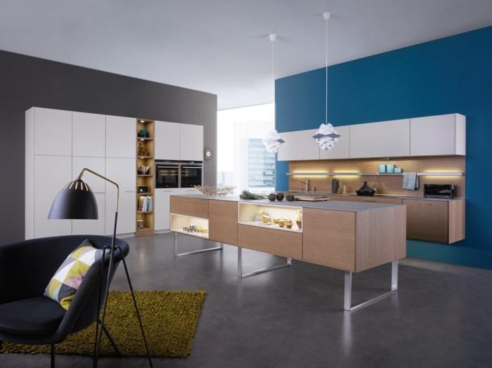 wandgestaltung küche blaue und grau kombinieren