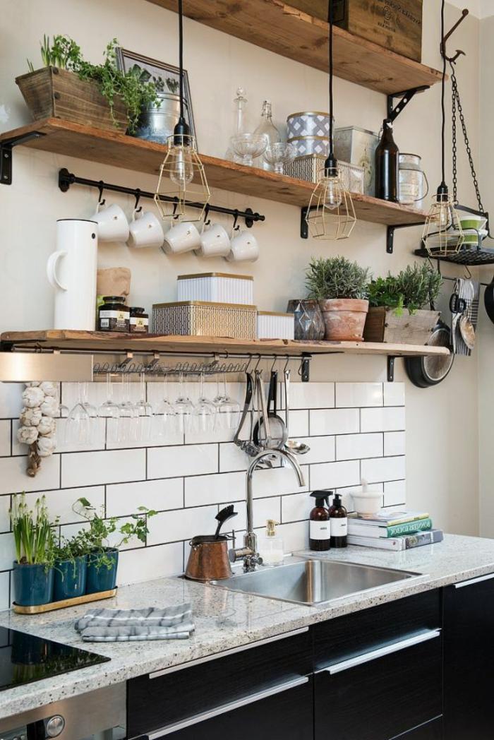 wandgestaltung küche fliesen weiß offene wandregale