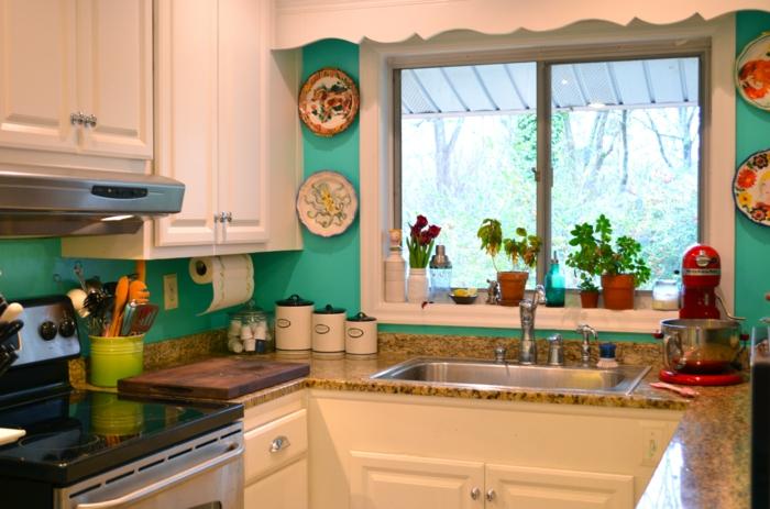 wandgestaltung küche frische wandfarbe kleine küche