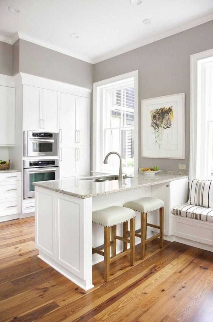 wandgestaltung küche graue wände und weiße küchenmöbel