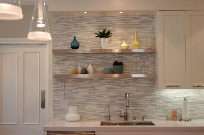 wandgestaltung küche küchenrückwand gestalten horizontale wandfliesen