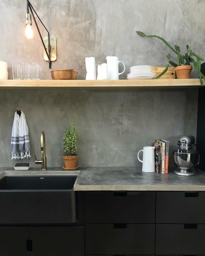 wandgestaltung küche mit betonoptik bringt eine note eleganz
