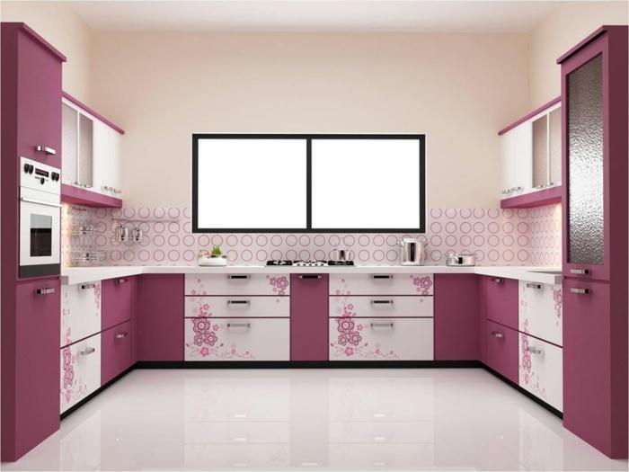 wandgestaltung küche wandfliesen rosa küchenschränke weißer boden