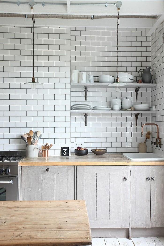 wandgestaltung küche weiße wandfliesen und offene wandregale