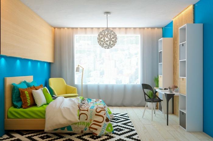wandpaneele kinderzimmer gestalten farbige bettwäsche teppich blaue wandfarbe
