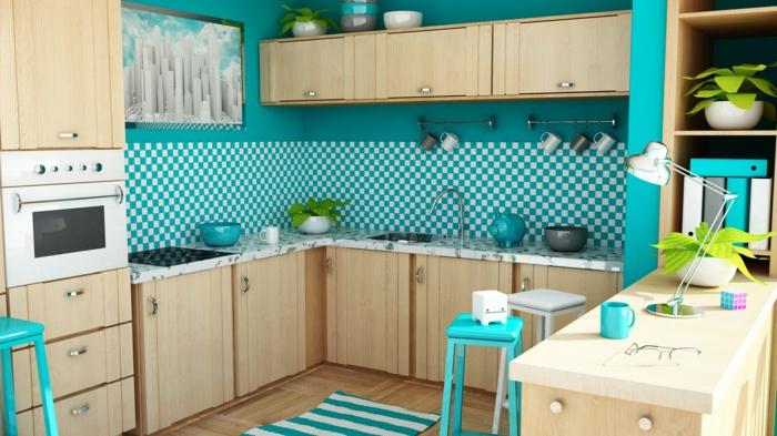 wandtapeten küche frische kombination teppichläufer grüne barhocker