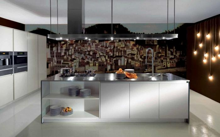 wandtapeten küche kücheninsel küchenbeleuchtung