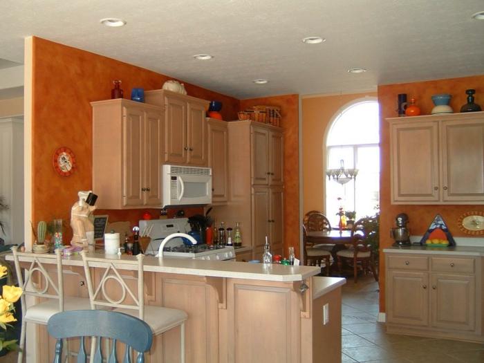 wandtapeten küche orange schöne optik