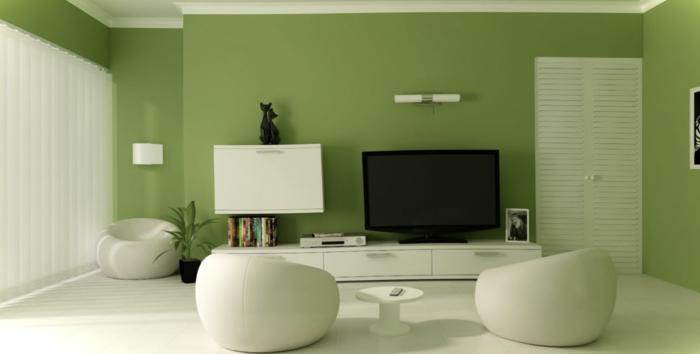 Wohnidee Wohnzimmer Grüne Wandfarbe Weiße Möbel Wohnidee Fürs Wohnzimmer U2013  Richten Sie Ihr Wohnzimmer In Grün Ein | Einrichtungsideen ...