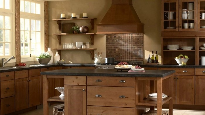 wohnideen küche braune wandfarbe und braune küchenmöbel