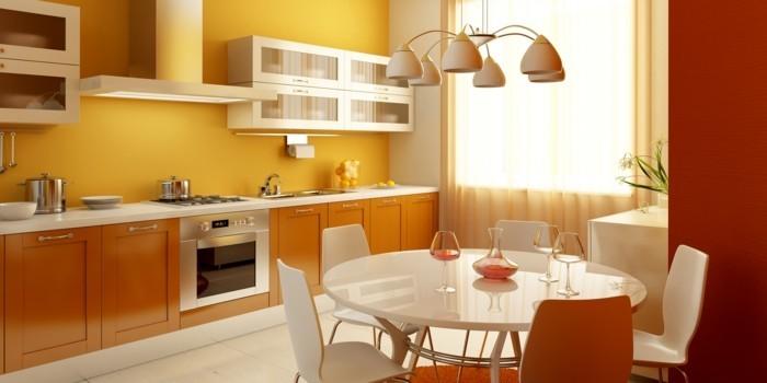 wohnideen küche gelbe wandfarbe und weiße bodenfliesen