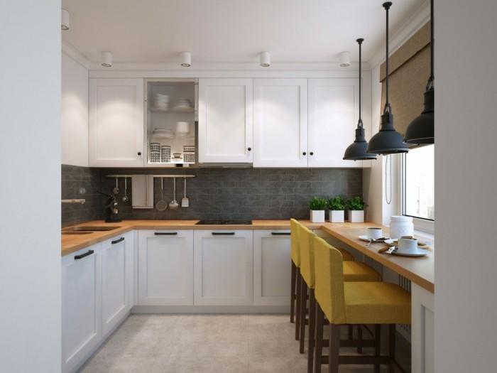 wohnideen küche kleine küchenzeile mit grauen wandfliesen und weißen küchenschränken