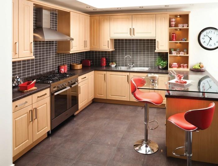 wohnideen küche schwarze wandfliesen verleihen mehr charakter dem raum