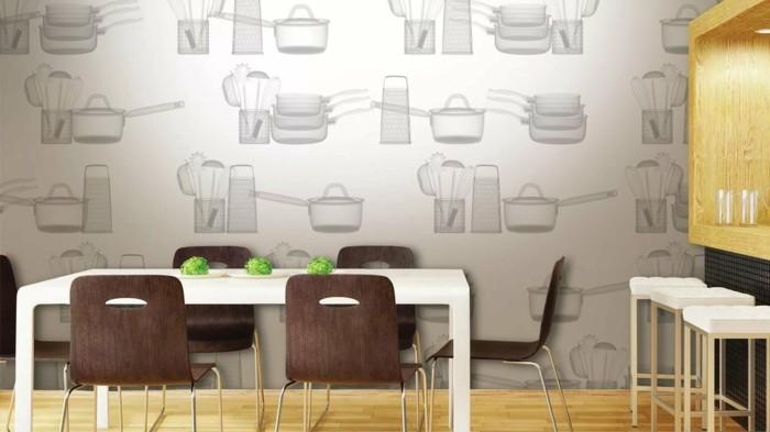 wohnideen küche thematische tapete macht die stimmung heiter