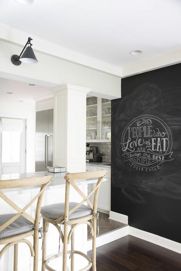 Wohnideen Küche Weiße Küche Mit Schwarzer Wandtafel 66 Wandgestaltung Küche  Ideen U2013 Wie Erreicht Man Den Erwünschten Küchen Look?