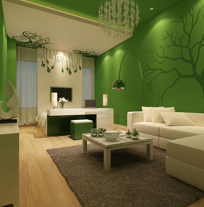 schöne wohnzimmer wände:wohnzimmer einrichten ideen grüne wände schöne wanddeko beiger