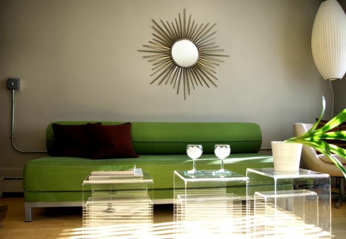 Schön Wohnzimmer Einrichten Ideen Grünes Sofa Coole Transparente  Beistelltische