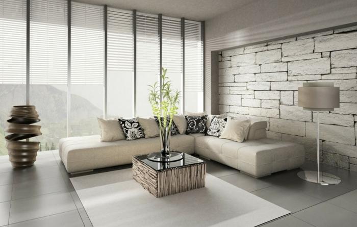 wohnzimmer tapeten ideen ausgefallen steinoptik weißer teppich