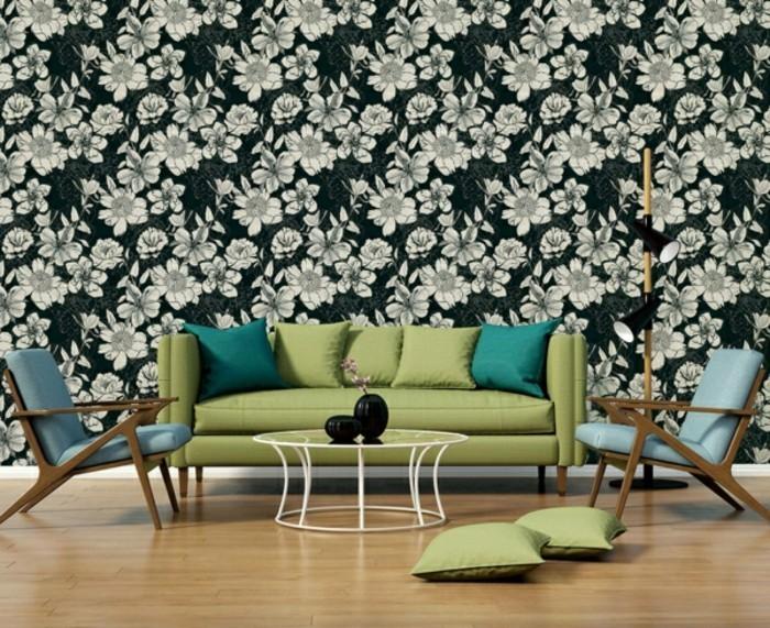 wohnzimmer tapeten ideen elegantes blumenmuster in schwarz weiß