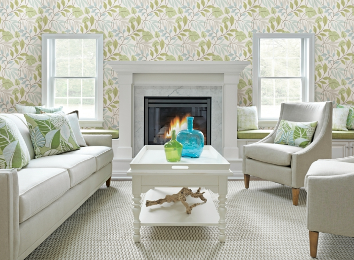 wohnzimmer tapeten ideen florales muster weiße wohnzimmermöbel