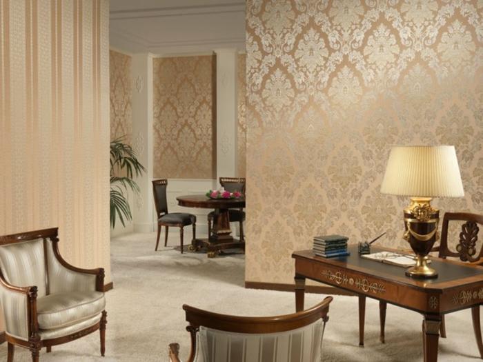 Wohnzimmer tapeten ideen wie sie die wohnzimmerw nde beleben for Brown and cream living room wallpaper