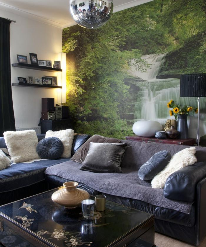wohnzimmer tapeten ideen phototapete naturaussicht dekokissen