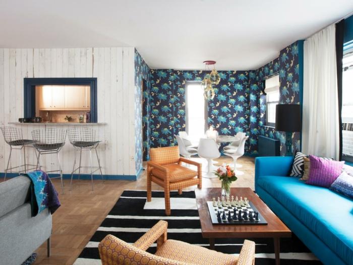 wohnzimmer tapeten ideen teppich schwarz weiß offener wohnplan