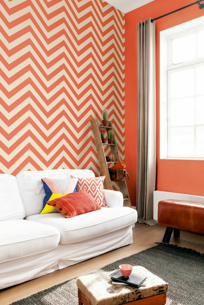 Wohnzimmer Tapeten Ideen Zig Zag Muster Weisses Sofa