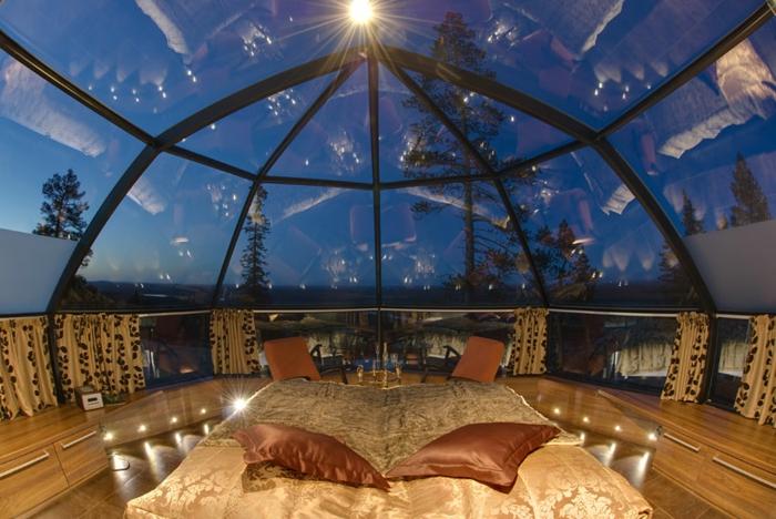 zimmer dekorieren ausblick glasdach finnland