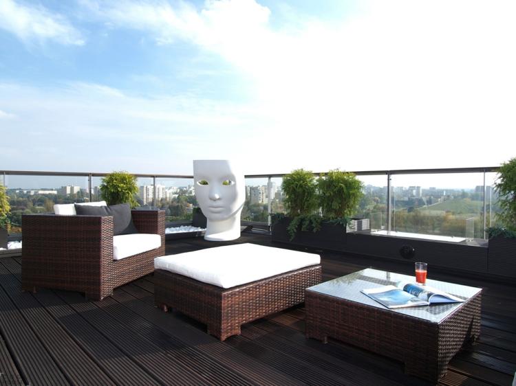 Balkon schön gestalten moderne Balkonideen Rattanmöbel