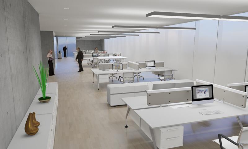 Beleuchtung am Arbeitsplatz moderne büroeinrichtung led büroleuchten