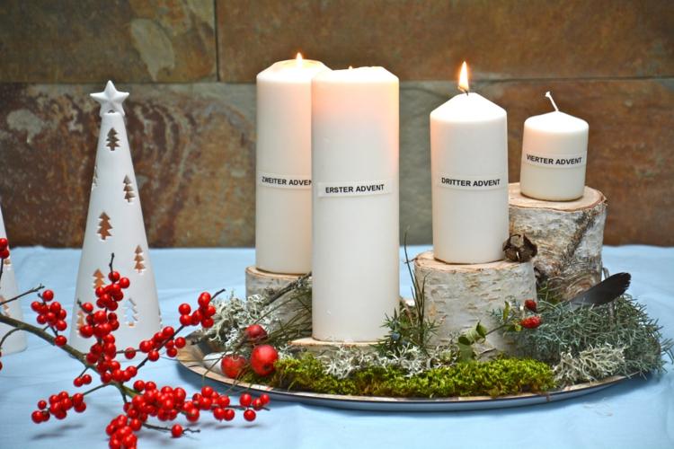 DIY Adventskranz Ideen schöne weihnachtliche Tischdekoration