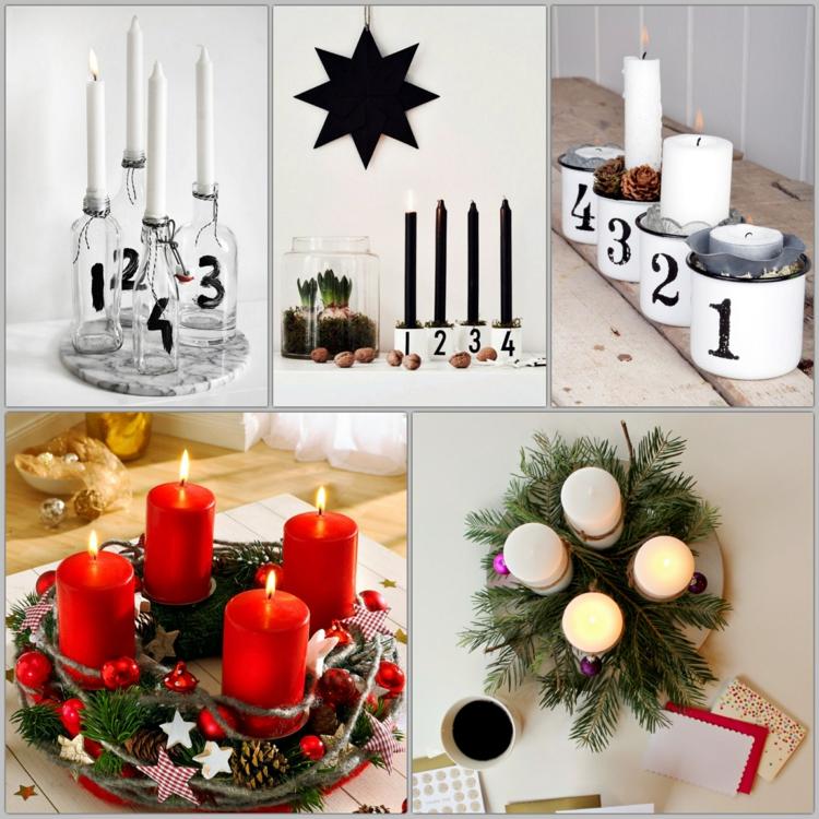 DIY Adventskranz modern schöne Weihnachtsdeko Ideen basteln