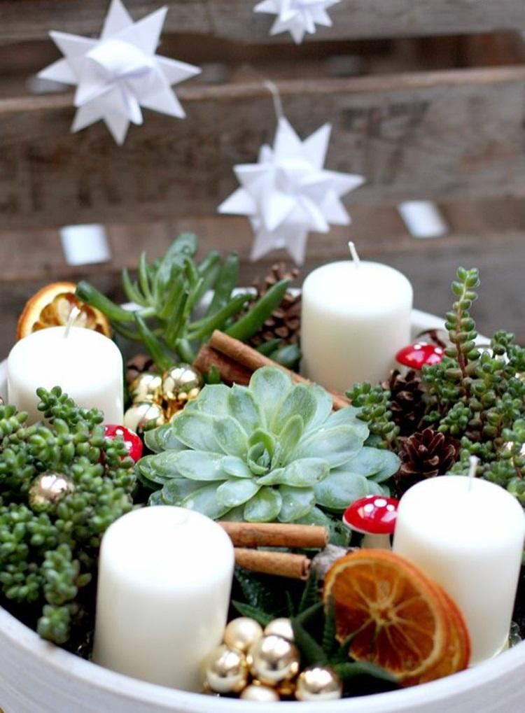 DIY Adventskranz modern schöne Weihnachtsdeko Ideen